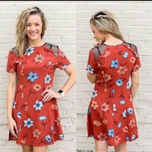 MINKPINK Floral Dress With Lace Detail
